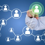 Businessman pressing relations and contacts in social network